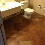 Bathroom with our new tiles/bathroom amenities