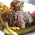 Turkey Bacon Club (opps, he had already eatten part of it)