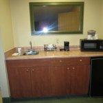 Food prep area in room with nice sized mini fridge/ freezer