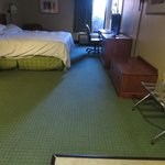 Large room with comfy bed, dated furnishings and tired rug
