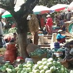 Market activity at Danyingone Train Stop