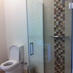 Standing shower and toilet. Very spacious and drainage of standing shower is nicely made with lo