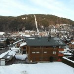 Room View of Super Morzine lift in the distance - white snow line