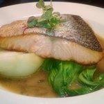 Crispy Ora King Salmon on Pak Choy with miso broth