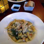 Penne with pesto cream sauce and chicken