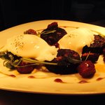 Pan-Fried Black Pudding with Chorizo, Soft Poached Egg & Mustard Dressing