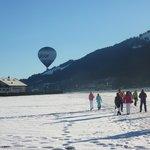 Morning Walk to Gondola - hot air balloon just taken off