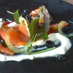 Smoked Salmon with Horseradish Cream, Olives and Confit Lemon.