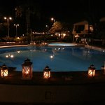 Candles around the pool