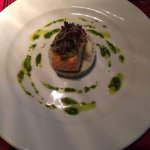 Divine salmon and herb mash with pine nut pesto