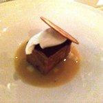 Chocolate pumpkin sponge cake with Apple chip