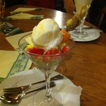 Fruit salat with lemon sorbet
