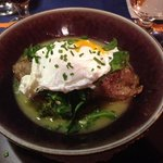 pork cheeks, poached egg, lemon sauce