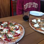 Margherita and sausage and fennel pizzas. Awesome!