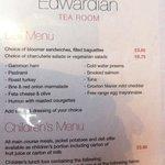 'Deli' menu & children's menu