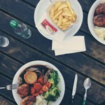 Sunday roast; roast beef and roast turkey with veg and roasted potatoes and chunky chips... mmmm