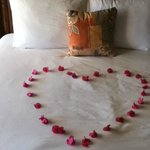 Beautiful heart design on the bed