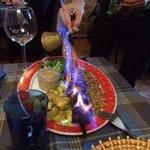 Brochette flambé - in process