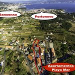 Imagen aérea de referencia Sanxenxo y Portonovo.
