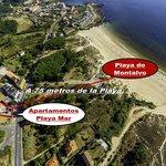 Imagen aérea de referencia Playa de Montalvo a 75 metros del establecimiento.