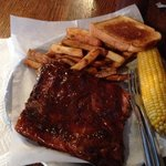 Ribs, corn, fries