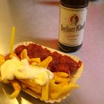 Currywurst with french fries and beer