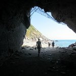 The tunnel from the town to the rock beach.