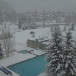 Looking down on the heated, open-air pool
