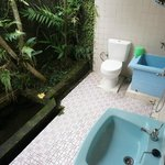 Private outdoor shower with koi pond.