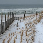 Atlantic Ocean view, with (snow-covered) dunes, Seaside Park, NJ