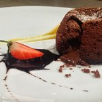 Hot Chocolate Souffle Served With White Chocolate