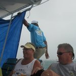 Putting up tarps for the squall
