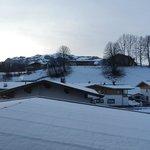 Views across farmland towards slopes