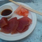 Ahi Sashimi with wasabi soy sauce and pickled ginger