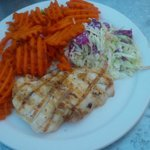 White Sea Bass with Sweet Potato Fries and Coleslaw