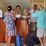 Giorgia and Gianmario welcoming guest/photo taken from pool