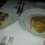Crab cakes and lobster ravioli