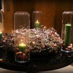 Candles in the Advent Wreath in the hotel foyer