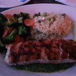 Salmon with a light pesto.