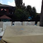 Terrible estate of tables by the pool and chairs!
