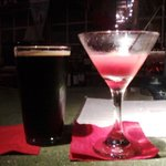 Excellent coffee porter and delicious blood orange Cosmo