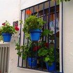 Pretty pots in streets round the Plaza