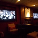 The lounge and bar with black and white film clips of Beverly Garland