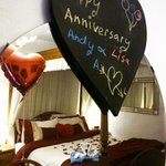 Our room, beautifully decorated to celebrate our anniversary