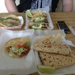 6 Tacos, Chicken Gordita, L arge Beef Fajita Quesadilla