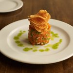 Tuna tartar with waffle fries