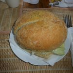 The amazing vegetarian Greek Style Olive bread sandwich