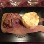 Fillet beef with mash potato in a coco and horseradish sauce
