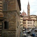 Our view, with the back of Palazzo Vecchio to the left and the Bargello museum to the right.