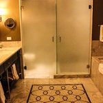 frosted doors in bathroom